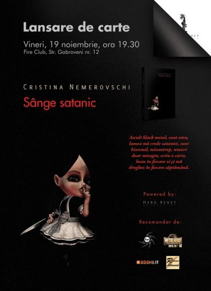 Lansare de carte: Sange satanic de Cristina Nemerovschi